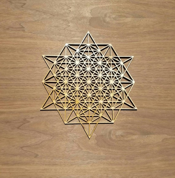 64 Tetrahedron Grid Sustainable Wood Lasercut Wall Art