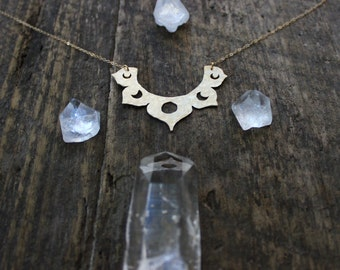 Lotus Moon Phase Necklace / raw crystal brass pendant / Handmade / Large chest piece breast plate
