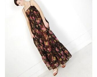 empire waist 70s maxi dress