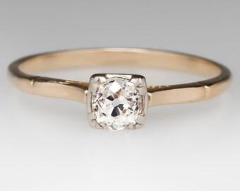 Vintage 1940's Classic .42 Carat Old European Cut Diamond Engagement Ring WM10401
