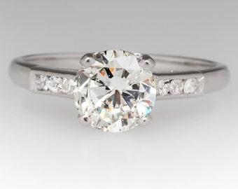 Vintage 1.48 Carat Diamond Platinum Engagement Ring WM11436