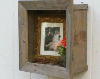 Rustic Shadow Box Frame Bouquet Display Cabinet Deep Wall Shelf Beach Cottage Chic Distressed Reclaimed