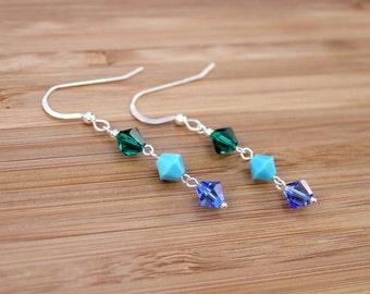 Swarovski earrings, Makeforgood, silver earrings, swarovski crystal, sterling silver earrings, rainbow earrings, swarovski, blue earrings