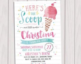 Ice Cream Birthday Invitation, Ice Cream Social, Party Invitation, Summer Party, Summer Birthday Printable