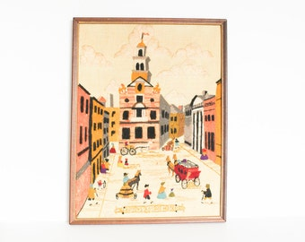 1970s CREWEL EMBROIDERY WALL Hanging 1976 Boston Old State House Handmade Framed Wall Yarn Art Vintage Massachusetts Needlework Stitchery