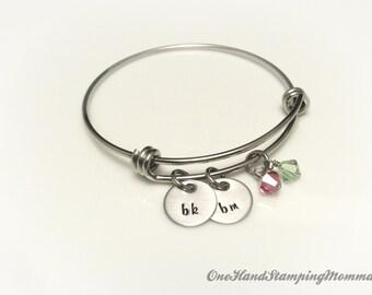 Hand Stamped Jewelry - Personalized Bracelet - Personalized Mom Bracelet - Hand Stamped Bracelet - Charm Bracelet