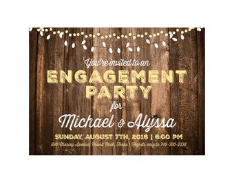 Rustic Barnwood & Lights Engagement Party Invitation; Printable or set of 10