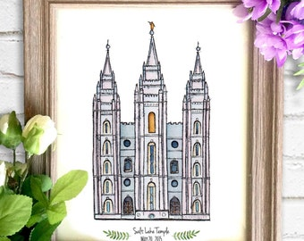 Salt Lake Temple Watercolor Art Print- Personalized Gift, Wall Decor, Illustration, LDS Art, LDS Temple, Wedding Gift, Date