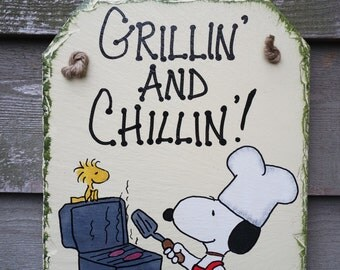 Snoopy and Woodstock hand painted patriotic summer Grill Barbeque bbq Wall-hanging Slate