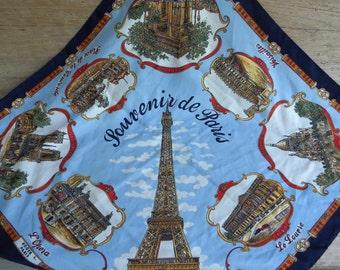 Vintage Roger L Paris Souvenir de Paris Scarf / Paris Souvenir Scarf / Paris Landmark Scarf / Large Paris Print Square Scarf