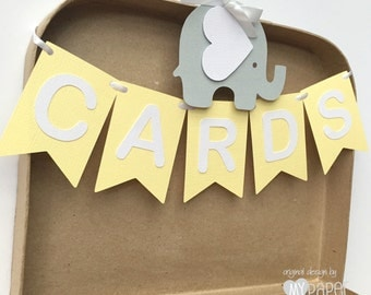 Mini CARDS Banner Pastel Yellow & White. Elephant baby shower decorations. Table display - card banner. Add to your own box / basket.