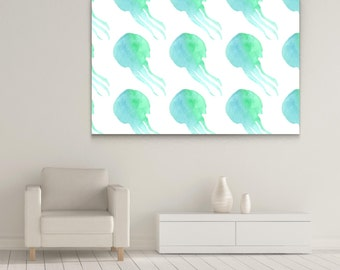 The Seamless WaterColor Jellyfish Gallery-Wrapped Wall Canvas Print