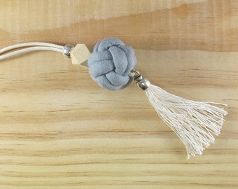 Tassel necklace, Long necklace, Fabric knot, Geometric wooden bead, Silver bead, Handmade knot necklace, Adjustable, Cotton fabric jewelry