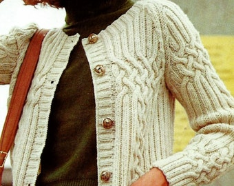 Cable and Rib Fisherman Cardigan Vintage Knitting Pattern Download