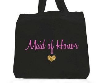 Maid Of Honor Tote Bag,Fuchsia Maid Of Honor,Maid of honor gifts,maid of honor bags,Fuchsia andGold tote bag,fuchsia gold maid of honor tote