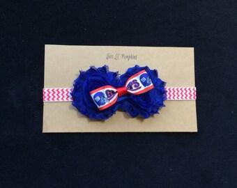 NY Giants Inspired Ribbon Tuxedo Bow Headband with Blue Shabby Flowers on Red and White Chevron Headband for Baby Girl Toddler