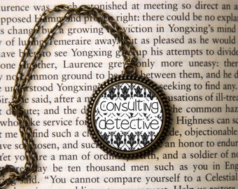 "SHERLOCK  ""Consulting Detective"" Pendant Necklace, Sherlock Holmes,Fan Jewelry,"