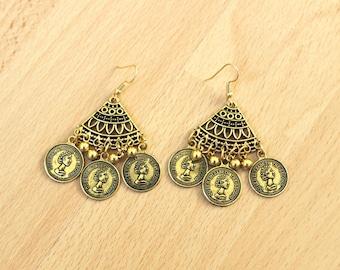 Vintage style Fashion Coin Earrings, Boho Coin Earrings, Bohemian Earrings