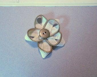 CLOSE OUT SALE!! Zipper Bow, Firefighter Zipper Flower, Cream Flower, Fireman Kids Hair Bow, Zipper Broach, Firefighter Gift
