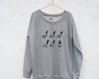 SALE! Spy Pigeon hand screen printed grey organic sweatshirt for women