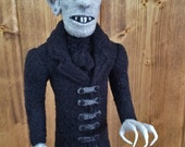 "Limited Edition Nosferatu Art Doll 13"" Max Schreck's Count Orloff from Classic Film -100% Needle Felted Wool Sculpture (Free U.S. Shipping)"