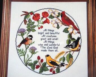 Circle Of Songbirds By Janlynn Vintage Cross Stitch Pattern Leaflet 1985