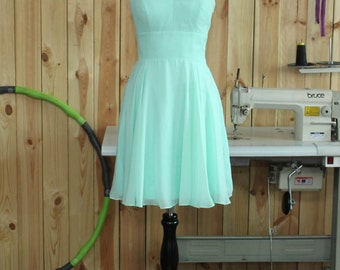 V-neck Mint Bridesmaid dress, Wedding Party dress, Formal dress, Prom Dress,Woman Evening dress Knee length