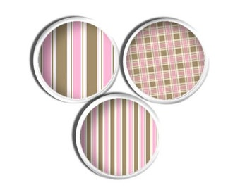 Handmade Decorative Dresser Knobs - Pink and Tan, Stripe, Plaid, Girl Room, Baby Decor, Nursery, Shower Gift, Home Decor, Drawer 1214SS