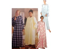 Women's Robe, Flannel Nightgown, Long Sleeve Pajama Top and Pants Sewing Pattern Misses Size Large, XL Bust 40 42 44 46 Uncut Butterick 3656