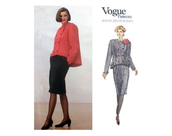 Vogue American Designer Geoffrey Beene Jacket and Skirt,Women's Suit Sewing Pattern Misses Size 8-10-12 Uncut Vogue 2369