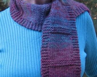 Fashionable Scarf Hand Knit OOAK Winter Scarf, Multi-Colored Winter Scarf, Ski Scarf, Winter Accessory, 60 L x 5.5 W