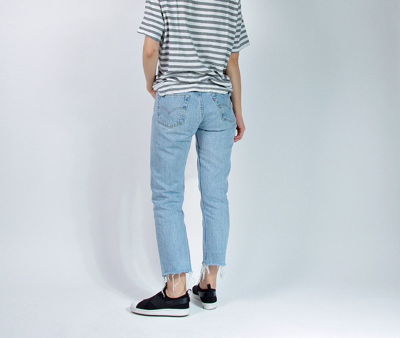 vintage levis 501 roh geschnittene damen jeans made in usa. Black Bedroom Furniture Sets. Home Design Ideas