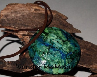 Handmade Blue and Green Alcohol Ink Pendant & Necklace