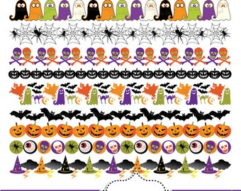 Halloween Borders Clip art Bunting Banners Halloween Digital