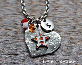 Houston Astros Necklace, Astros Baseball, Astros Fan Wear, Astros Necklace, Astros Jewelry