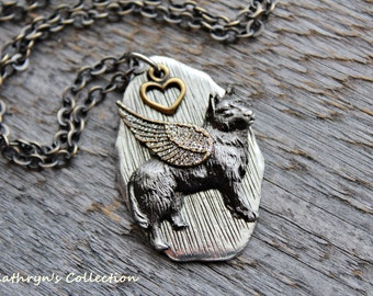 Wolf Angel Necklace, Wolf Necklace, Wolf Jewelry, Wolf Spirit Guide, Grey Wolf, Timber Wolf, Wolf Dog