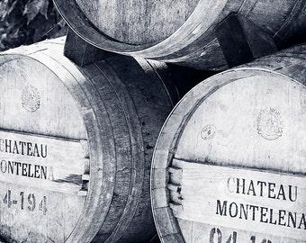 Black and White Wine Barrel Photography - Wine Country - Napa California - BW print