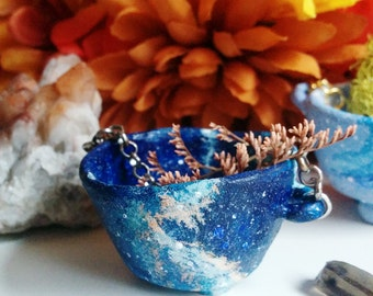 Cosmos Cauldron - Galaxy, nebula painted, miniature, outerspace, stars, tiny polymer clay cauldron with chain