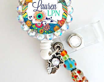 Boho Retractable ID Badge Reel - Personalized Rhinestone Nurse Badge ID Reel - Medical- Can put any Title (E24)