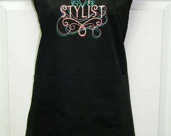 Personalized Custom Embroidered Beauticians Hair Stylist Apron