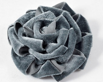 "3-1/2"" Velvet Flower for hair accessory, Dress and crafts by 1 pc, MAK-VTFL4"