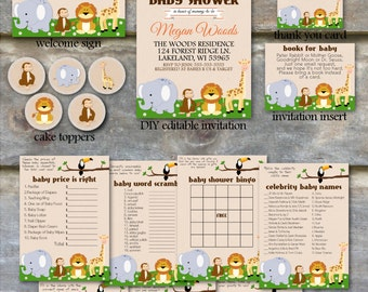Safari Baby Shower Party Package - Jungle Animal Baby Shower Package, Printable Baby Shower Package,Zoo Animal Baby Shower Package - DIY