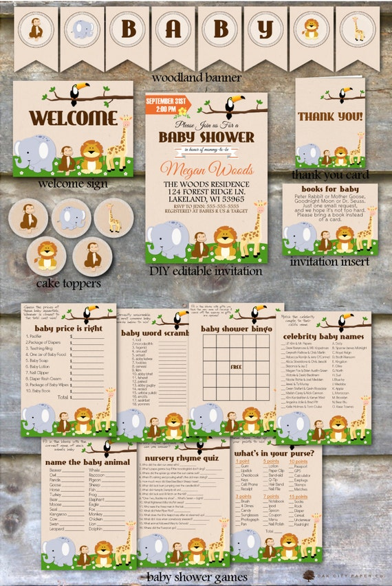 Baby Shower Themes Packages ~ Safari baby shower party package jungle animal