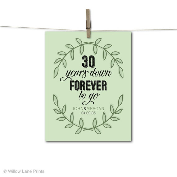 30 Years Wedding Anniversary Gift: 30th Anniversary Gift For Parents 30 Year By WillowLanePrints