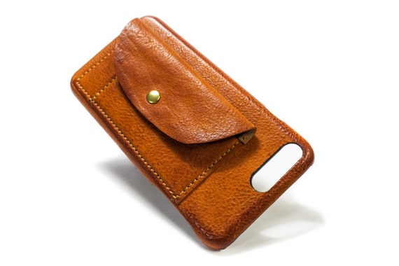 "NEW iPhone 8 and 7 4.7"" or 8 7 PLUS 5.5"" Leather Case handmade in Italy with 2 credit cards holders and a flap Device and Colour to CHOOSE"