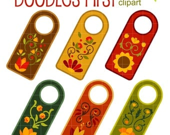 Autumn Floral Door Hangers Clip Art for Scrapbooking Card Making Cupcake Toppers Paper Crafts SVG Cuts