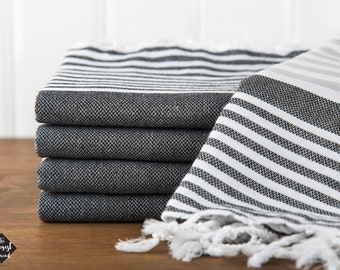 S A L E, Reef Turkish Towel, Peshtemal, Beach Towel, Hammam Towel, Gray and Black