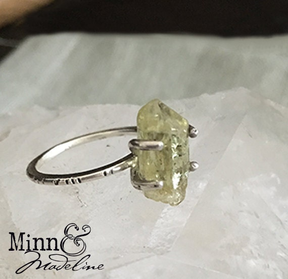 Topaz and Silver Handcrafted Ring, Natural Green Topaz Crystal Ring, Crystal Healing Jewelry