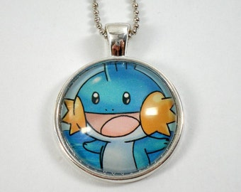 Mudkip Pokemon Necklace OR Keychain - Upcycled Pokemon Card Pendant - Silver Pendant w/Chain - Mudkip Necklace - Pokemon Card Necklace