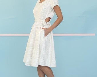 White Summer Dress, Cut Out Dress, Cap Sleeve Dress, Full Skirt Dress, Dress With Pockets, Drawstring Waistband